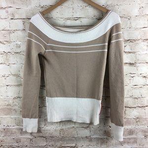 Prada Tan Cream Ribbed Long Sleeve Sweater Small